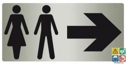 Panneau directionnel toilettes mixtes