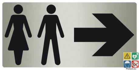 Panneau toilettes mixtes vers la droite