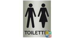 Panneau toilettes mixtes fond métal