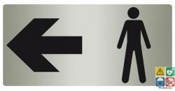 Panneau toilette homme à gauche fond métal