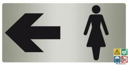 Panneau toilettes femmes à gauche fond métal