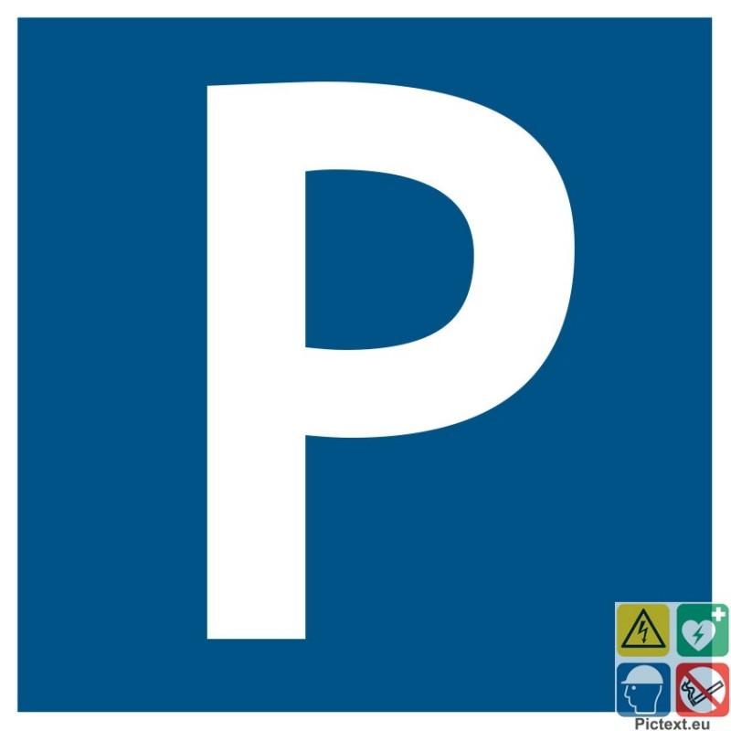 panneau de signalisation avec pictogramme p parking sur fond bleu. Black Bedroom Furniture Sets. Home Design Ideas