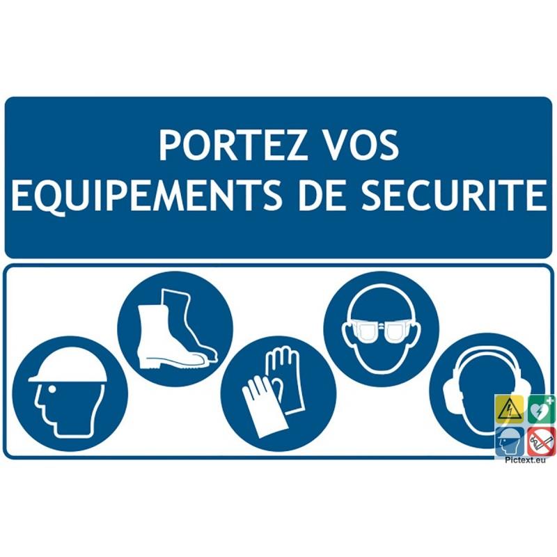 Panneau de chantier avec 5 pictogrammes d 39 obligation - Port des lunettes de securite obligatoire ...