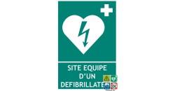 Panneau au format portrait site équipé d'un défibrillateur cardique