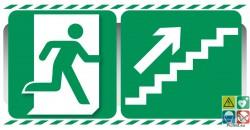 Evacuation escalier de secours à droite vers le haut