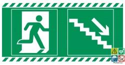 Evacuation escalier de secours vers le bas et à droite
