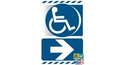 Panneau accès handicapés logo PMR droite gamme xénon