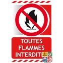 Panneau toutes flammes interdites