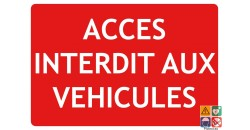 Panneau texto accès interdit aux véhicules