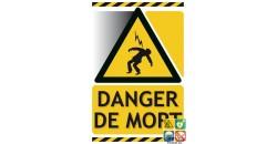 Panneau danger de mort picto-texto