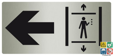 Panneau directionnel ascenseurs vers la gauche métal