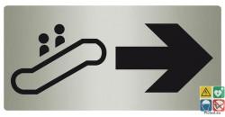 Panneau directionnel escalator vers la droite aspect métal