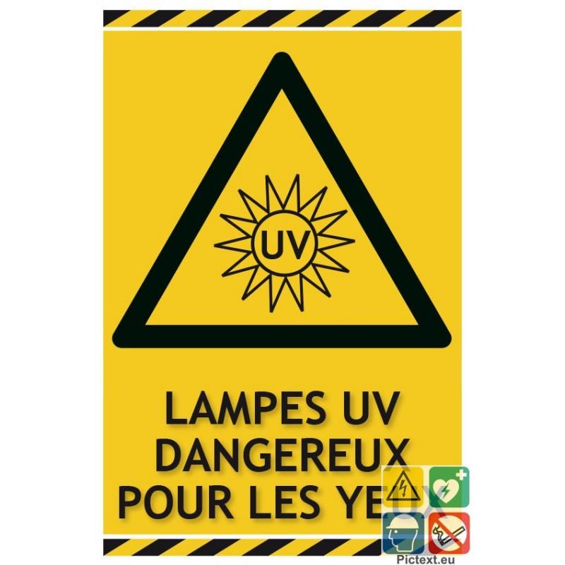 panneaux lampes uv dangereux pour les yeux avec pictogramme. Black Bedroom Furniture Sets. Home Design Ideas