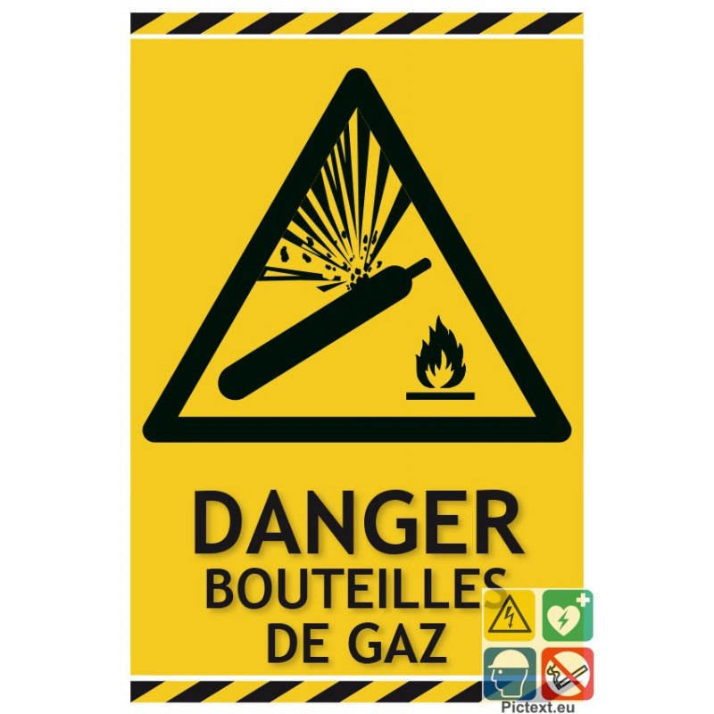 panneau de danger bouteilles de gaz risque d 39 explosion. Black Bedroom Furniture Sets. Home Design Ideas