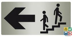 Panneau directionnel escalier vers la droite métal