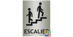 Panneau escalier avec picto ISO70001 et désignation métal