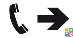 Panneau directionnel téléphone vers la droite