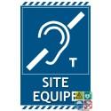 Panneau site équipé pour malentendants symbole T