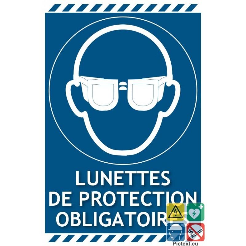signal tique lunettes de protection obligatoires picto texte portrait. Black Bedroom Furniture Sets. Home Design Ideas