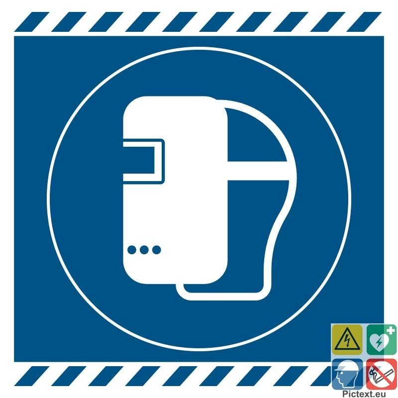 Signal tique picto masque de soudage obligatoire a partir - Pictogramme port du masque obligatoire ...