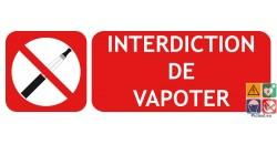 Panneau interdiction de vapoter type picto-texto