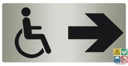 Panneau accessibilité totale vers la droite métal
