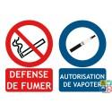 Panneau 2 en 1 Interdiction de fumer et autorisation de vapoter