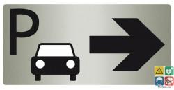 Panneau parking vers la droite finition métal