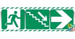 Panneau triptyque escalier vers la droite et vers le bas