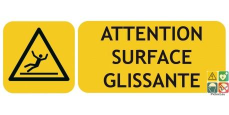 Panneau picto-texto attention surface glissante