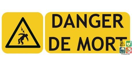 Panneau danger de mort picto-texto format paysage