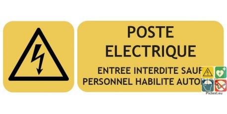 Panneau poste électrique entrée interdite