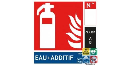 Panneau extincteur eau additif classe A format carré