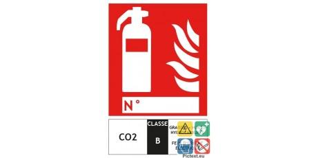 Panneau extincteur CO2 classe B format vertical