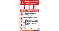 Consigne d'utilisation de l'extincteur à pression auxiliaire