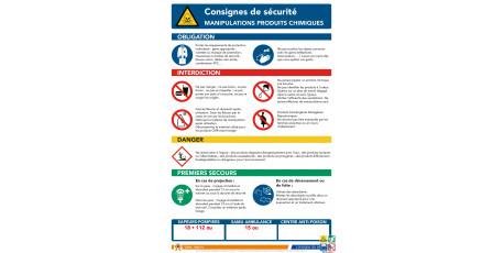 Consigne de sécurité manipulation produits chimiques