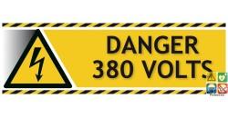 Panneau danger 380 volts picto-texto format paysage