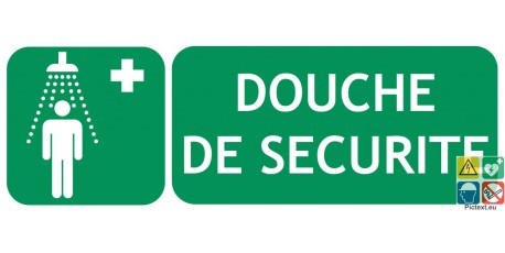 Panneau douche de sécurité picto-texte gamme classique