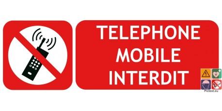 Panneau téléphone mobile interdit picto-texto paysage