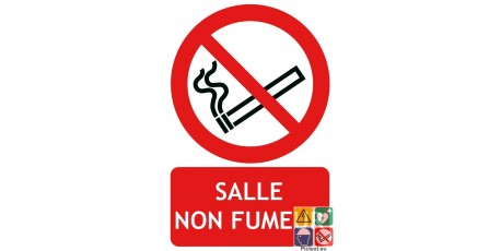 Panneau salle non fumeurs picto-texto
