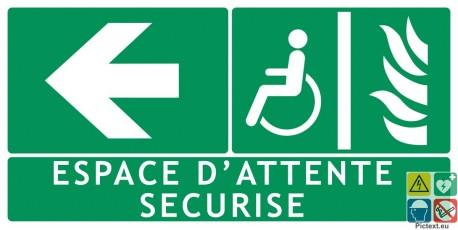 Panneau espace d'attente sécurisé vers la gauche