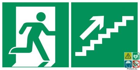 Evacuation escalier de secours montant à droite
