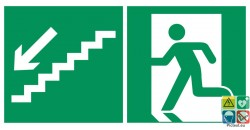 Evacuation escalier de secours descend à gauche