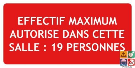 Panneau incendie effectif maximum 19 personnes