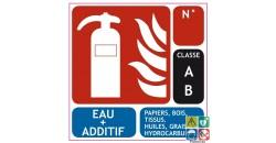 Panneau extincteur eau + additif classe AB 100x100 mm