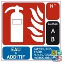 Panneau sérigraphié extincteur eau + additif classe AB