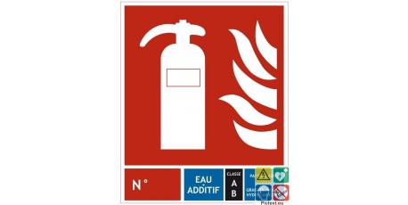 Panneau extincteur eau + additif classe AB 200x240 mm