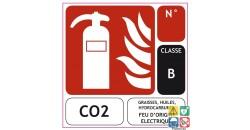 Panneau extincteur CO2 classe B 100x100 mm