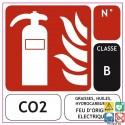 Panneau sérigraphié extincteur CO2 classe B