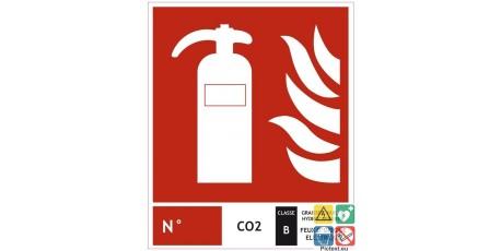 Panneau extincteur CO2 classe B 200x240 mm